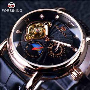 Forsining Mode Luxus Leuchtzeiger Rose Goldene Männer Uhren Top-marke Tourbillion Diamant Display Automatische Mechanische Uhr + Uhrenbox