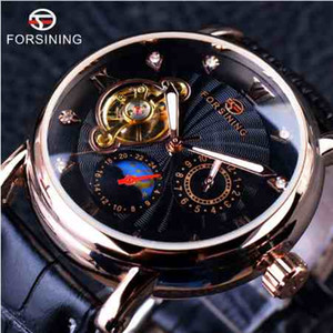 Forsining Fashion Luxury Luminous Hands Rose Golden Men Relojes Top Brand Tourbillion Diamond Display Reloj mecánico automático + caja de reloj
