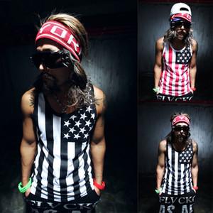 Al por mayor-Moda Hombres Tank Top T-shirt Muscle Chaleco sin mangas Camisa chaleco de verano de los hombres FASHION HIPOP EE.UU. BANDERA NACIONAL DEL TANQUE TOP