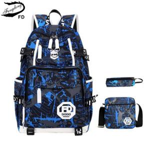 Fengdong Big Size Anti Theft Blue Impermeable Niños Mochila escolar Usb Bolsas de hombro para hombres Mochila escolar Set Male Laptop Bag 15 .6