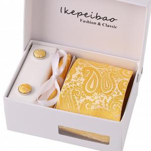 Ikepeibao Классический желтый галстука Tie Set Handerchief Запонки полиэстер Полосатый 8cm вес коробки подарка Упаковка для Mens формального бизнеса, мужчины галстук набор