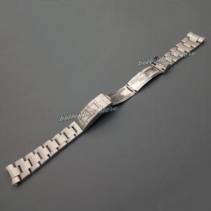 Nueva 20mm cepillado plata pulseras de acero inoxidable banda reloj extremo curvado Correa para reloj de la vendimia