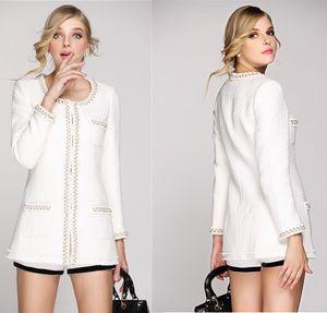 Otoño Mujeres Chaquetas de bombardero Europa y América Con cuentas Elegancia larga con cuello en O Slim Tweed de lana Abrigo Outwear Chaqueta de invierno Abrigos para mujer