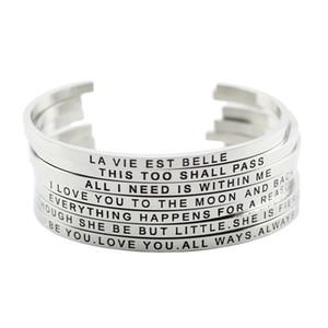 316l Bracelet En Acier Inoxydable Positive Inspiration Citation Manchette Bracelets Mantra Bracelets Bracelets Pour Femmes Cadeau De Noël