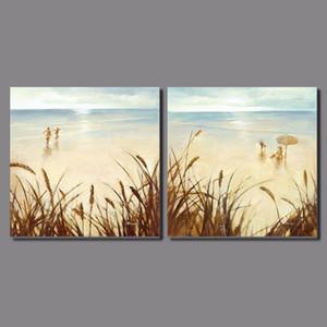 Or bord de la mer belle fille 2 pcs paysage décoration lumière brillant plage toile peinture sur Tenture murale décor à la maison sans cadre