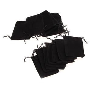 Samt Geschenk Schmuck Kordelzug Aufbewahrungstasche Verpackung Schwarz Beutel Taschen Party Velour Favors Kleine Menge Ring Stoffbeutel 7 * 9 cm 25 teile / los
