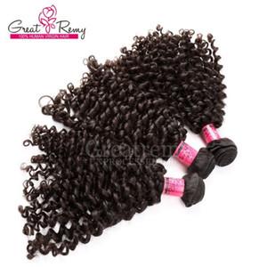 3 teile / los Unverarbeitete lockige Welle 100 Brasilianische Haarwebart Gute Qualität Haarverlängerungen Greatremy Perfekte Curl Haar für schwarze Frauen