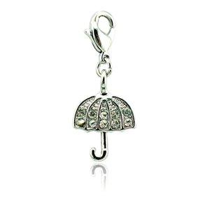 Bulk Floating Catenaccio Charms Argento Colore Bianco Strass Charms Umbrella per gioielli fai da te accessori