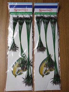 Ücretsiz nakliye 72pcs Yeşil Paslanmaz Çelik Balıkçılık Lure Hattı İz Lider Tel Döner Spinner Shark İplik Mücadele 15/21 / 30cm