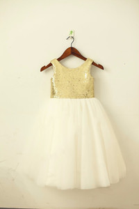 Dorado / Blush Pink SequinTulle Vestido de niña de las flores Champagne / Navy Sash Bow Boda Niños Pascua Junior Comunión Vestido de bautismo