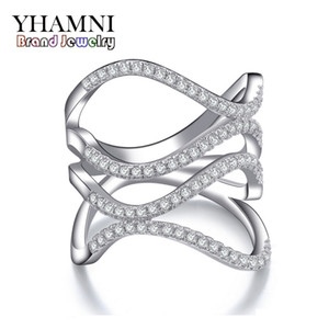 YHAMNI Fashion S925 Stamped Real Sterling Silver Jewelry Ring Set CZ Diamond Wedding Rings for Women Brand Fine Jewelry MR143