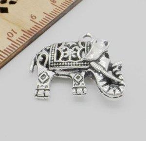 50pcs tibetischen Silber Lucky Elephants Charms Anhänger für Schmuck machen 25x21mm