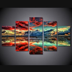 5 Panneau HD Imprimé Nuages Rouges Peinture Impression Sur Toile décor de la chambre affiche affiche image cuadros decorativos