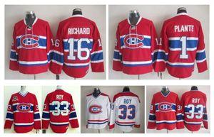Camisola de hóquei Retro Montreal Canadiens 33 Camisola de Patrick Roy 1 Jacques Plante 16 Henri Richard Vintage Camisas Costuradas CCM Autêntico