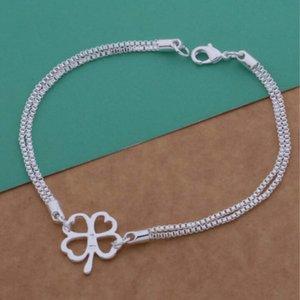 Lindo nuevo diseño plateado de cuatro hojas colgante de trébol pulsera moda regalo de cumpleaños hermoso para mujer envío gratis