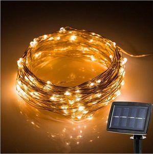 200 Leds Outdoor LED-Schnur-Licht der Sonnenenergie-Kupferdraht Lichterketten Hof Hochzeit Garten Christmas Light Dekoration