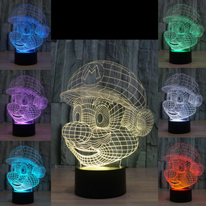 3D Super Mario Оптическая Ночная Лампа 10 светодиодов RGB Огни DC 5 В USB Питание 5-й Батареи Бин Завод Оптовая