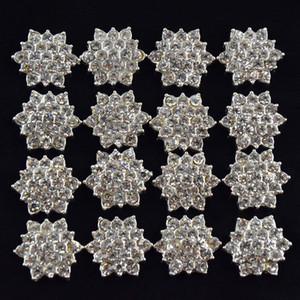 Großhandels-100pcs / lot flacher rückseitiger Kristallrhinestone-Knopf für Haar-Blumen-Hochzeits-Einladung, Rhinestone Applique-Zusätze geben Verschiffen frei