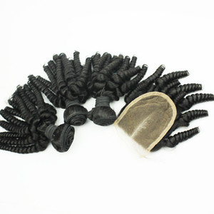 Double Drown Funmi Hair Unprocessed Brazilian Bouncy Romance Egg Curl 3pcs Lot Funmi Human Hair Extension With Closure fast shipping