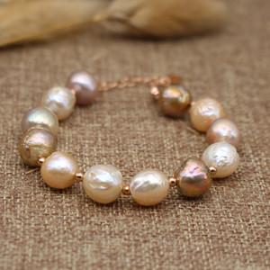 Cultivada natural de água doce irregular pérolas barrocas Pulseiras mulheres fine pearl jewelry 7 inches