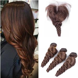 Перуанский #4 средний коричневый человеческие волосы с кружева закрытия среднего три топ закрытия с свободные глубокие волны девственные пучки человеческих волос 4 шт. / лот