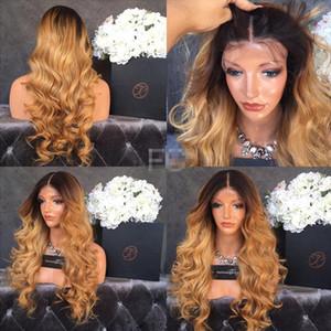 Peruca de cabelo humano peruca dianteira do laço ombre perucas150 densidade brasileira dois tons 1b 27 cheia do laço peruca onda do corpo