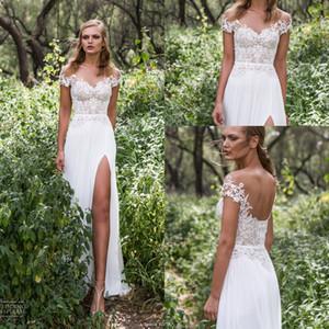 2020 atractivo delantero de Split gasa de Bohemia largos vestidos de boda apliques de encaje perlas fuera del hombro Vestidos de novia tren de la corte de 2016