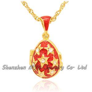 Hallazgos de joyería de moda para mujer estrella de cristal Faberge huevo colgante collar medallón hecho a mano esmaltado con baño de oro