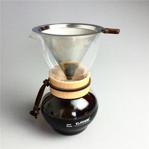 Filtre à café en verre 480CC et jeux de filtres en acier inoxydable réutilisables machine à café filtre à gouttes d'eau expresso outils de filtre à thé