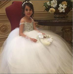 Vestido de bola de la princesa blanca pequeña Vestidos de niña de flores Con cuentas con lentejuelas Correas de espagueti Tul largo Niños Niñas Vestidos formales Vestido de Navidad