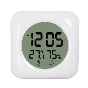 Мода Белый ЖК-Новый Водонепроницаемый Душевой Ванна Настенные Часы Часы Температура Температура Гигрометр Метр Датчик Монитор Влажность