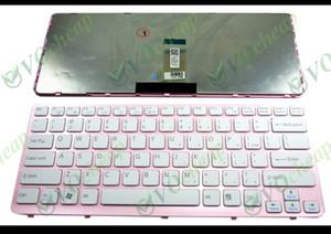 Nuova tastiera per computer portatile per Sony Vaio E Series SVE14 Tastiera bianca Cornice rosa Versione inglese USA - 149022311