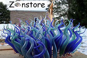 Необычные 100% выдувное стекло покрытие Crafts муранского стекла искусства Синий Цветное стекло Скульптура для наружного декора сада