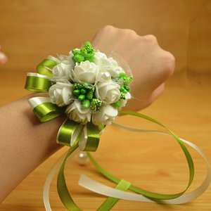 6pcs lot Wedding Wrist Flowers With Pearl,Bridesmaid Silk Rose corsages Hand Flower Artificial Flowers For Wedding Decoration
