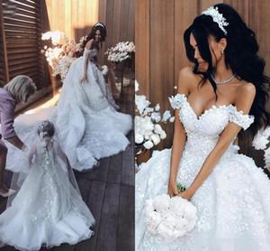 Принцесса Арабский бальное платье Кружева Свадебные платья с плеча 3D-цветочные аппликации Часовня Поезд Свадебные платья Большой размер на заказ 2019