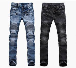 comércio exterior luz azul branco calças jeans motocicleta lavagem homens motociclista Homens de moda para fazer os velhos dobra Calças Runway Casual Denim
