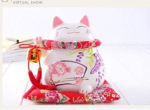 Artesanía Artes Decoración del hogar Lucky Cat adornos grandes cerámicos japoneses hucha alcancía abrió los regalos creativos de Wisteria