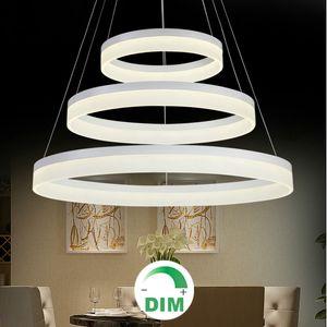 Modern rodada anel circular escurecimento LED candelabro luz Dimmable pendurado lâmpada Escurecimento luz pingente lâmpada regulável