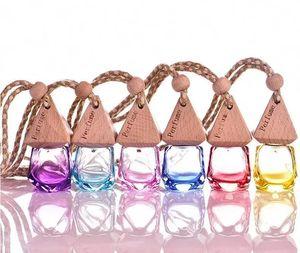 Perfume de vidrio esmerilado de 6 ml Botellas vacías Perfume de automóvil Decoración para colgar Aceite de esencia de vidrio con tapa de madera Paquete Contenedores