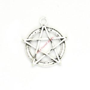 15pcs argent antique plaqué Pentacle Star Charms pendentifs pour la fabrication de bijoux Bracelet DIY collier Artisanat 31x28mm