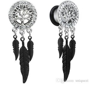 1 Par Retro Dream Catcher Plumas Cuelgan Ear Plug Flesh Tunnel Expander 10-25mm