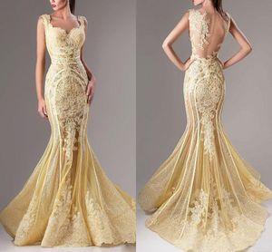 2017 Elie Saab Vestidos de Noite Rendas Applique Sereia Vestido de Baile Sexy Lantejoulas Ilusão Árabe Ocasião Especial Vestido Custom Made