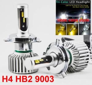 1 Conjunto H4 HB2 9003 60 W 8000LM Tri-cor LEVOU Farol CSP Chips Ouro Amarelo Branco 3000 K 4300 K 6000 K 3 Para 1 Lâmpadas de Condução Nevoeiro Chuvoso e Nevado