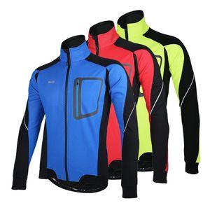 긴 소매 겨울 따뜻한 열 사이클링 자켓 ARSUXEO 방풍 통기성 스포츠 재킷 자전거 의류 자전거 MTB 저지 3 색