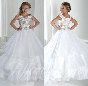Abiti da festa per bambini Pageant Party Dress Cap Sleeves Lace Up Back Princess Tiered Tulle Crystal Flower Girl Abiti Abiti per adolescenti BO9920
