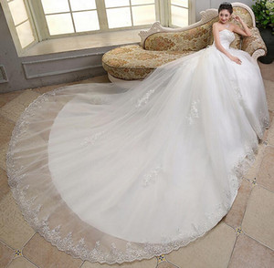 New Arrival Free Shipping Ruffle Tulle Cathedral Train Wedding Dresses Sweetheart Vintage Applique Vestidos Bridal Dress