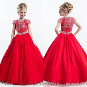 Red Girl's Pageant Vestidos para Meninas Sem Mangas De Cristal Flor Meninas Vestidos Para Casamentos 2017 Até O Chão Crianças