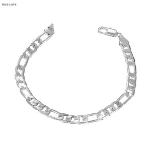 6MM 925 Silver plated Figaro chain bracelet cool fashion man jewelry Top quality low price wholesale free shipping