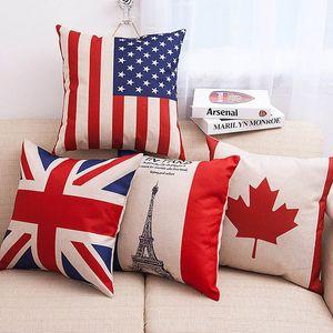 Fronhas Lance Travesseiro Cobre EUA REINO UNIDO Bandeira França Canadá Folhas Fronha Capas de Almofada Home Decorations WX-P26