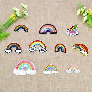 10 шт./компл. многоцветный Радуга вышитые патчи для одежды железа на передачу аппликация патч для сумки джинсы DIY шить на вышивка стикер